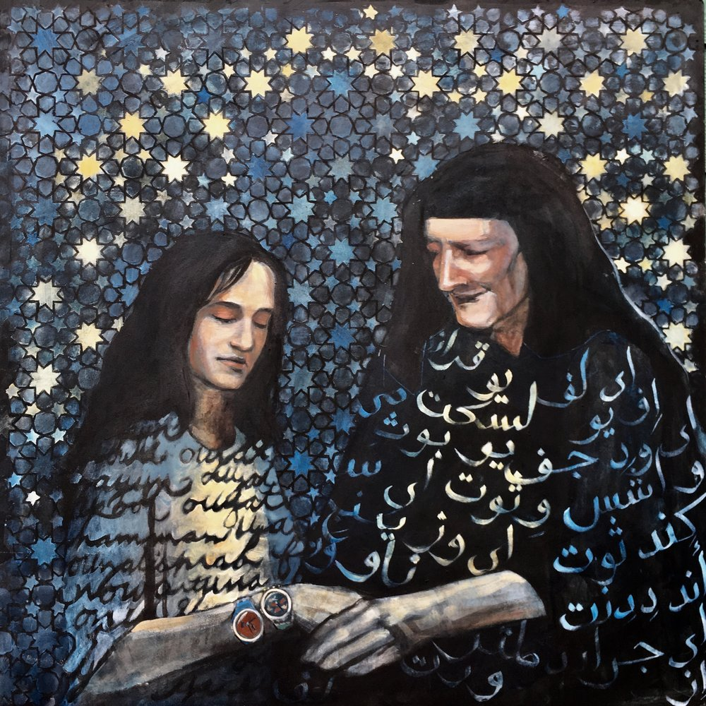 """Grandmother   I created this piece in honor of my Egyptian grandmother who passed away the year this painting was created.The imagery is partially inspired by the poem """"My Grandmother in the Stars"""" by Naomi Shihab Nye."""