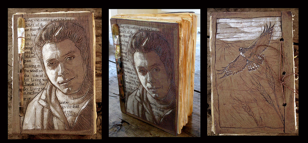 """Artist   This piece was part of an exhibit called """"Face Off"""" where artists were paired with other artists and created portraits of them. The artist wanted a relic based on what he hoped others would remember about him once he passes away."""