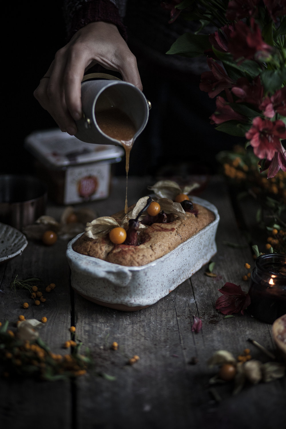 pears and cramberries loaf cake
