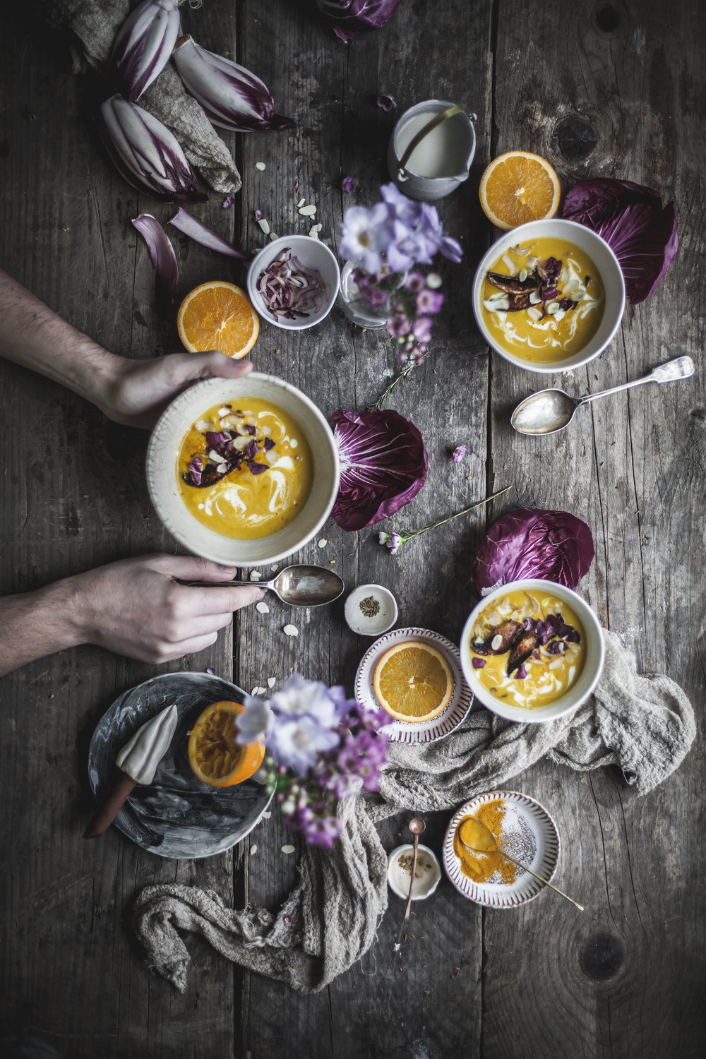 orange and squash soup with vegan bacon