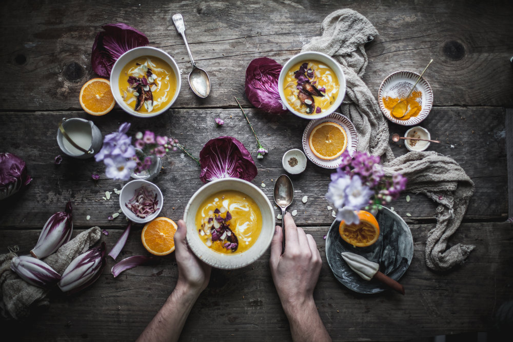 Squash soup with vegan bacon_salvialimone.com