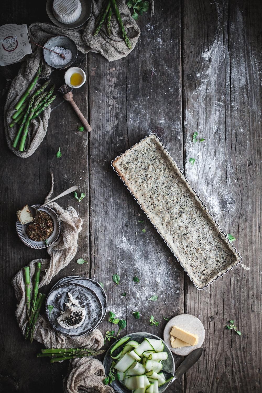 vegan goat cheese quiche with buckwheat crust