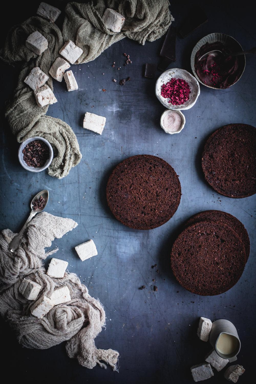 raspberry chocolate cake with marshmallows