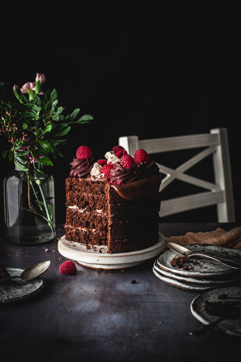 Raspberry Chocolate Cake with Marshmallow Dripping