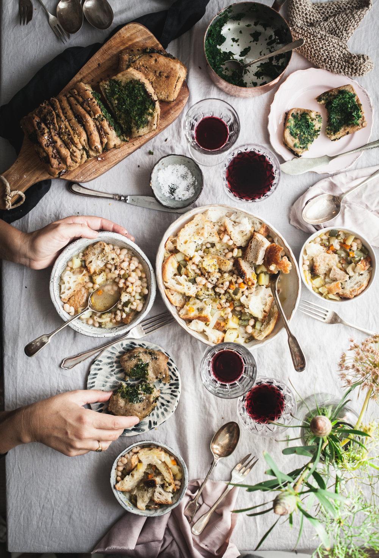 winter panzanella + vegan pull apart bread