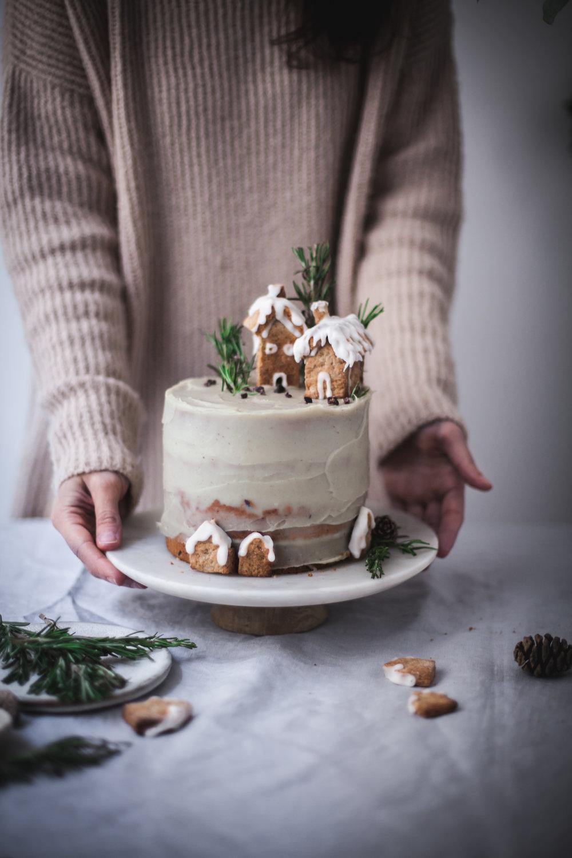 Christmas Cake with White Sweet Potato frosting #vegan