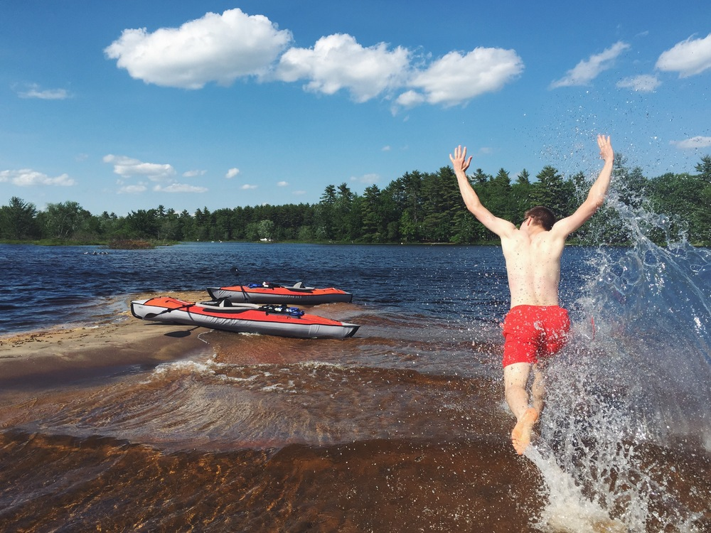 Sebago Lake Kayaking Anton Splashing