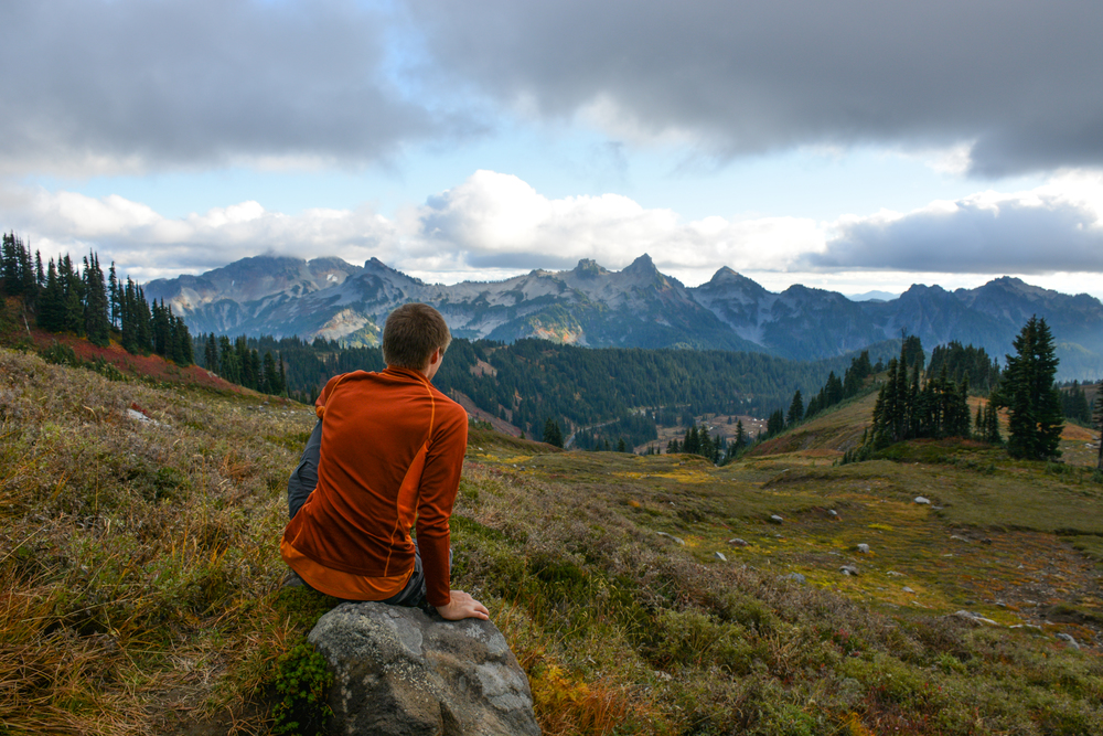 Anton enjoying the scenery of the Tatoosh Range and Paradise