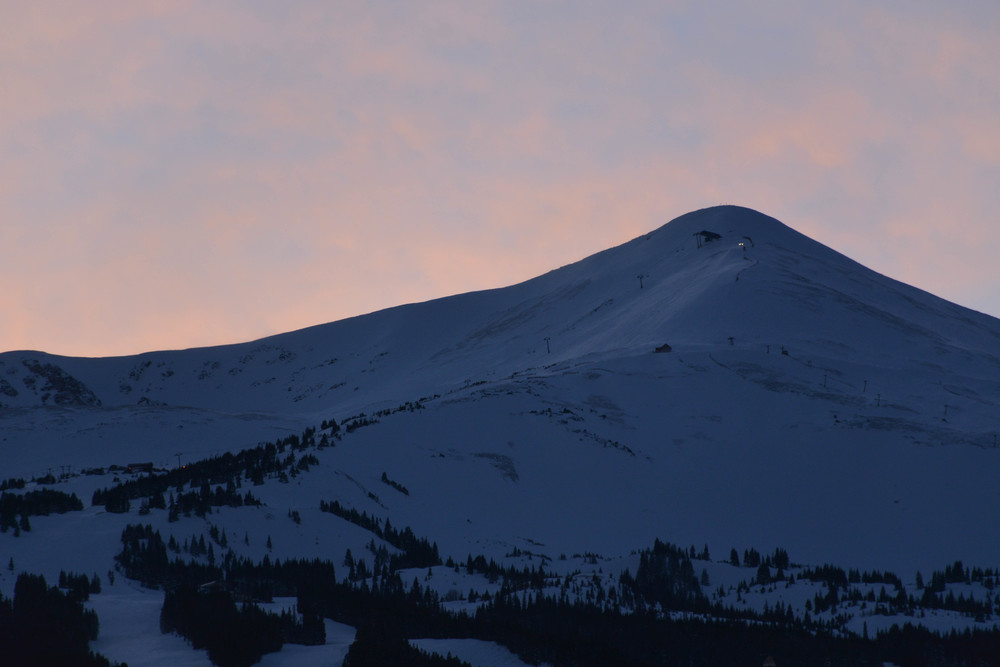 Late evening alpenglow at Breckenridge