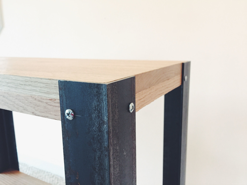 Handmade DIY Oak Steel Side Table