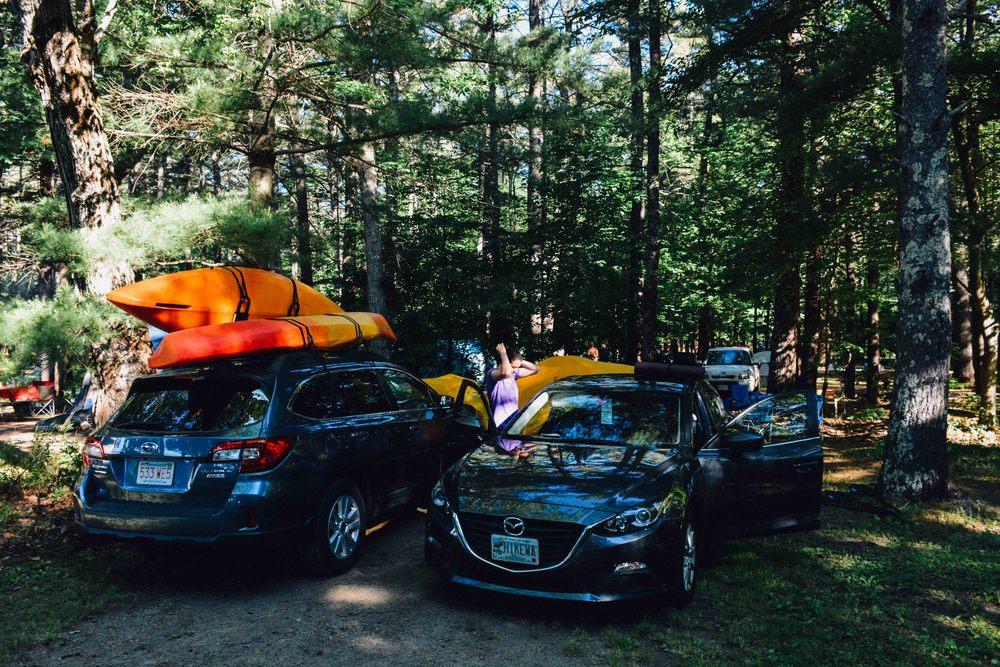Our cozy Sebago Lake State Park campsite