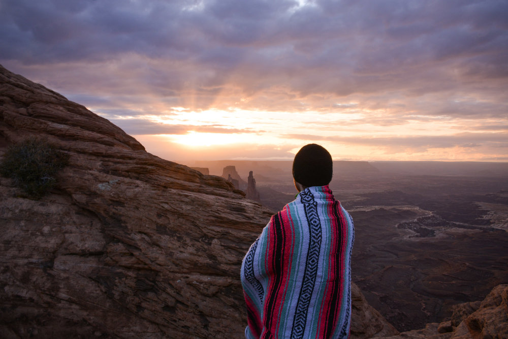 Enjoying the sunrise at Canyonlands National Park, Moab, UT