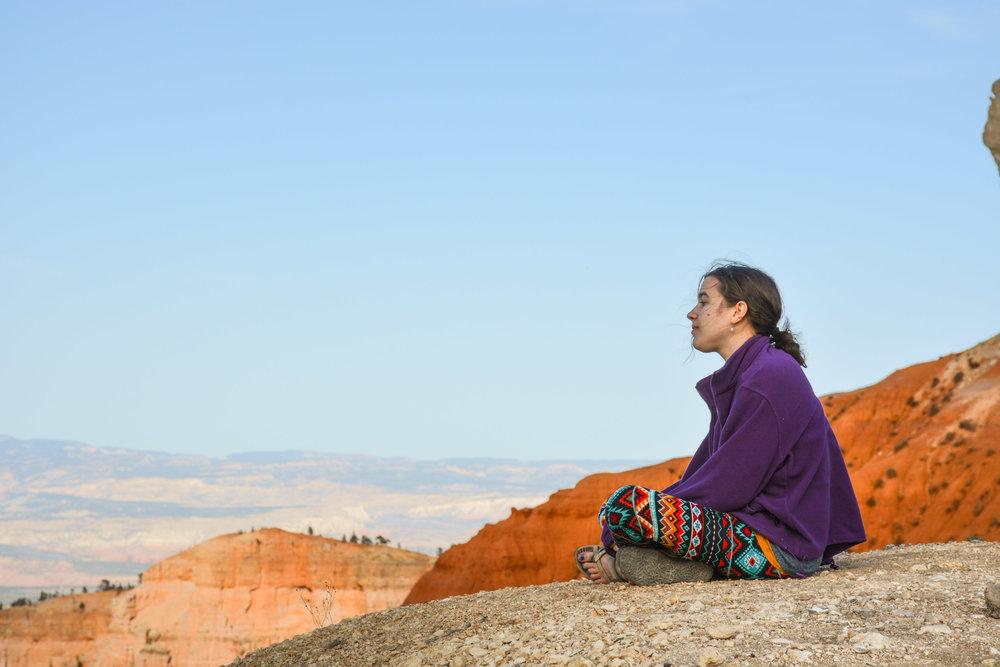 Meditating at Bryce Canyon Overlook