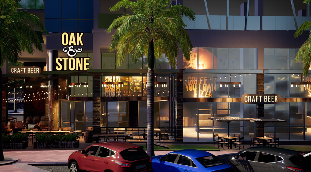 rendering of oak and stone, a pizza and beer joint, opening at hyatt place in downtown st pete