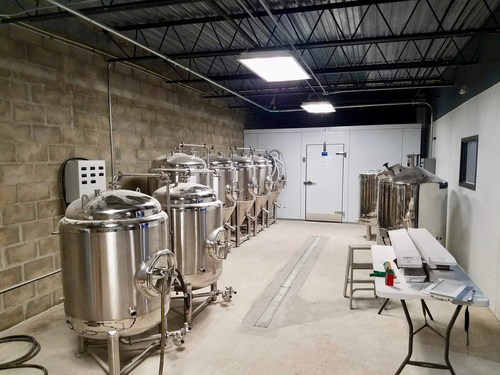 the brewery includes a 3 barrel system and a walk-in cooler.