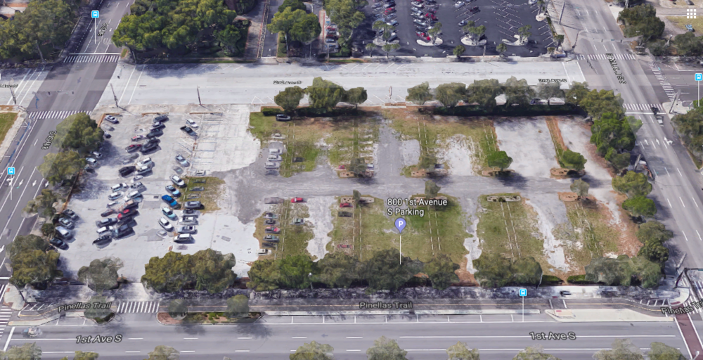 The empty lot at 800 1st Ave S that UPC Insurance has proposed offices, retail, and possibly a hotel.