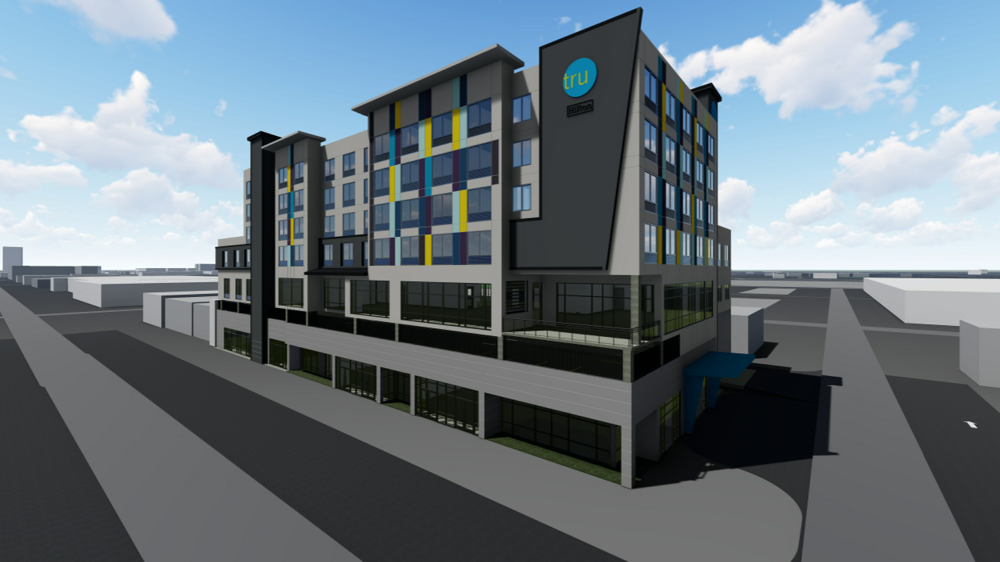 The proposed hotel will be 7-stories with 132 rooms and over 10,000 square feet of retail space