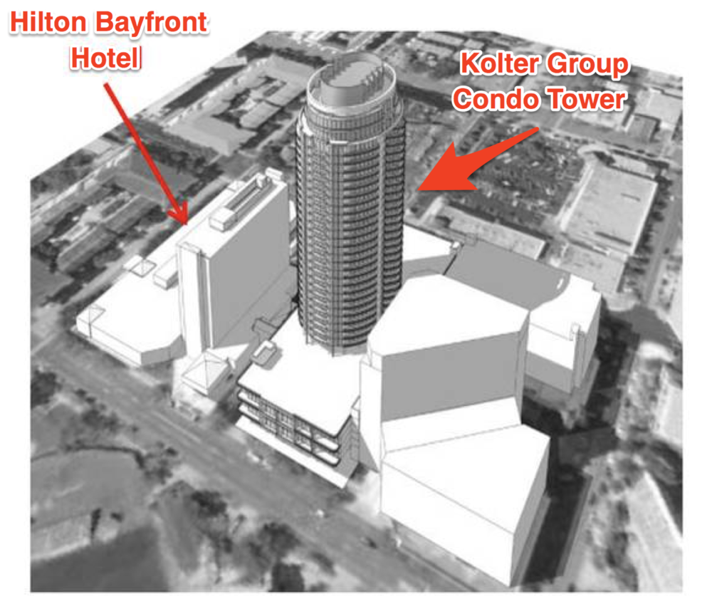 St. Pete Rising uncovered a very early schematic rendering of a condominium concept for the site. This render was not   provided by the Kolter Group and may not reflect what is ultimately proposed or constructed on the site.