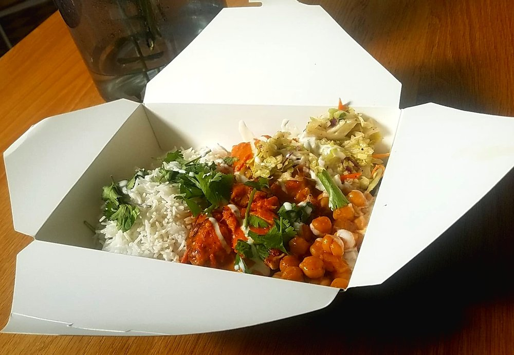 Tikka Masala rice bowl available at the Twisted Indian at 1113 Central Avenue