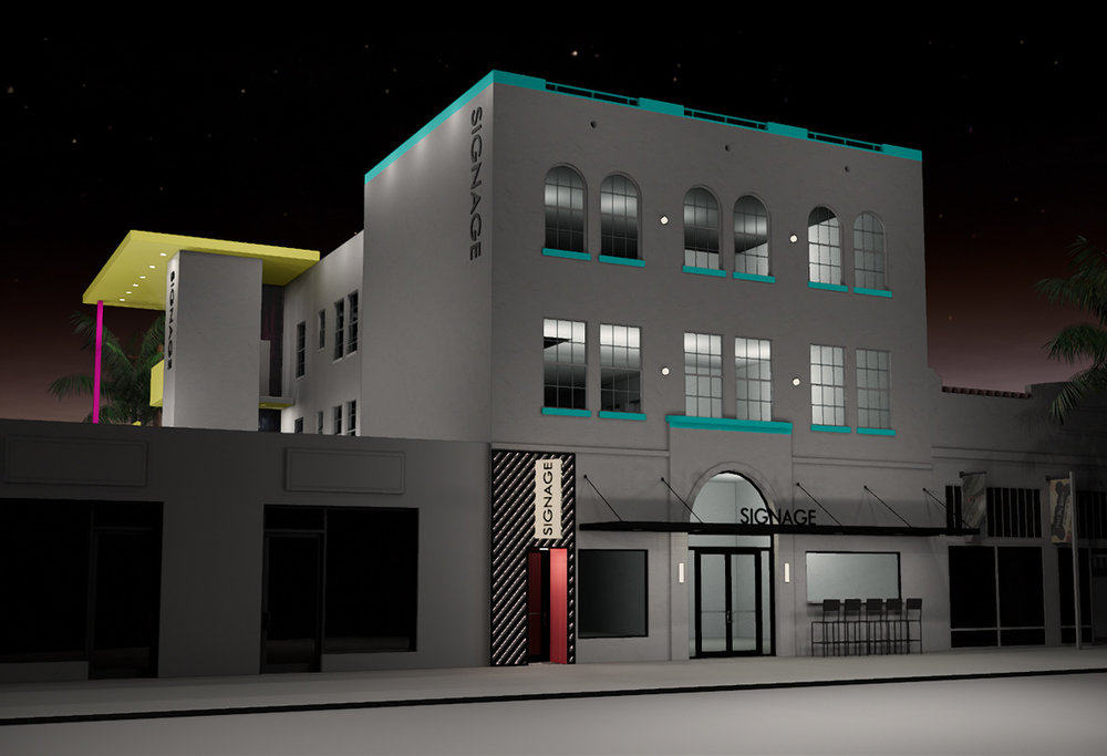 In addition to new paint, which features bold blue, yellow, and pink tones, the building will receive a new sidewalk awning. Nighttime renderings show new uplighting as well.