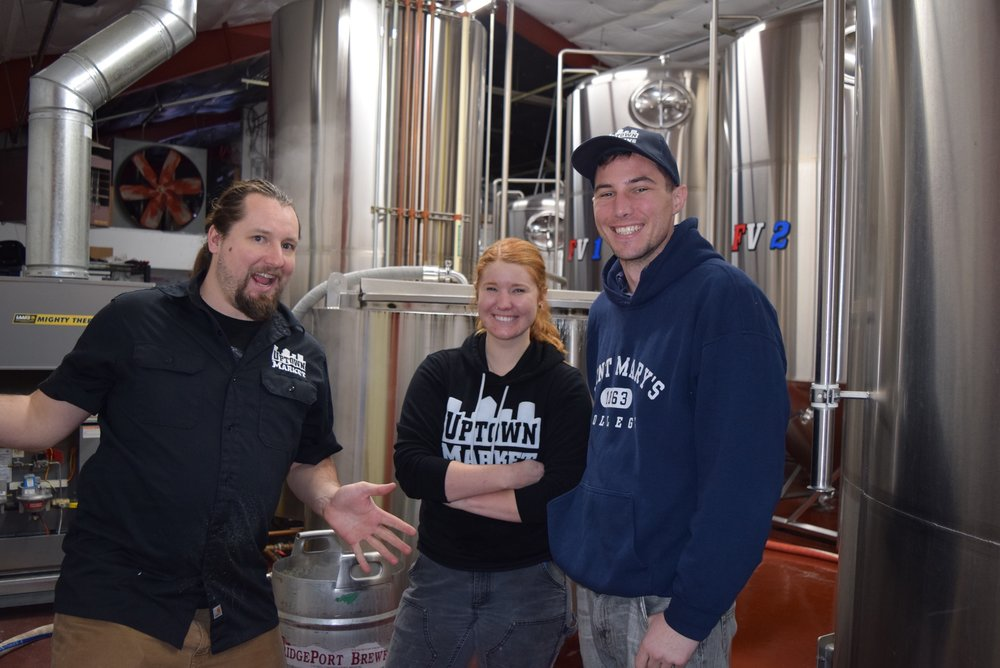 The Uptown Brewery team practicing their jazz hands at Gigantic Brewing.  Tyler, Anna and Rob.