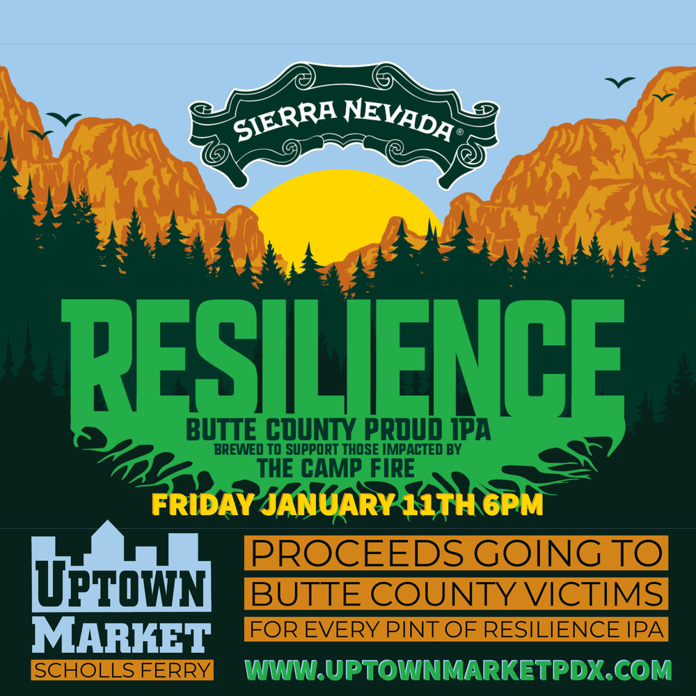 Come support those effected by the Camp fire by drinking great beer by Sierra Nevada.  We will also have version of the beer from Allegory too!  Proceeds from these beers will be donated to those impacted by the fire.