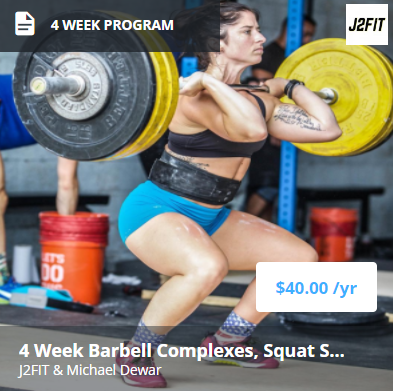 4 Week Barbell Complexes and Squat Strength - This 4-week intensive program includes:- Barbell complexes to increase training volume and fully develop a lifter's abilities in the snatch and clean and jerk.- Squat strength (both back and front) emphasis.- Good off-season program for weightlifters looking to increase muscle mass and strength without neglecting lifts.- Good program for CrossFit athletes looking to increase technique in the Olympic lifts, strength, and still have the ability to train at higher volumes to ensure fitness.