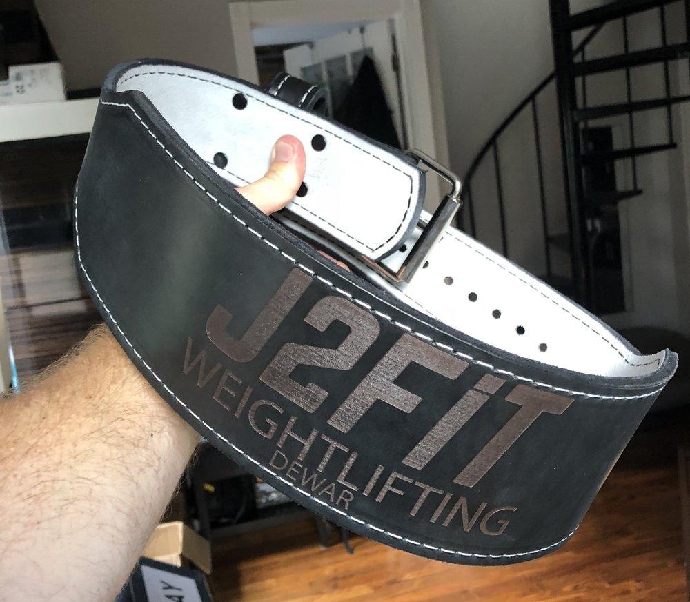 custom j2fit weightlifting leather belt.JPG