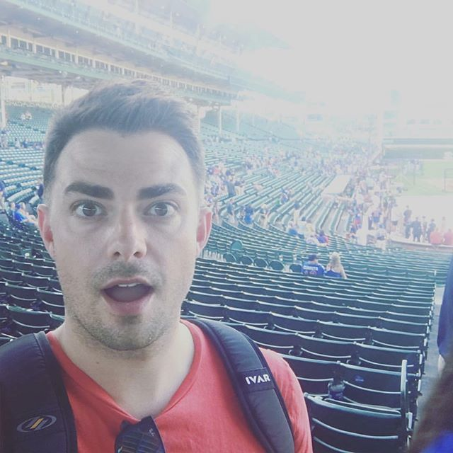 Actor Jonathan Bennett in Chicago at a Cubs game! Jonathan is a friend and one of the nicest guys I know! Great backpack, @jonathandbennett!