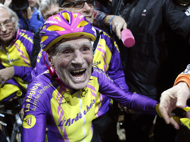 French cyclist Robert Marchand, 105, who set a record for distance cycled in one hour, near Paris in January