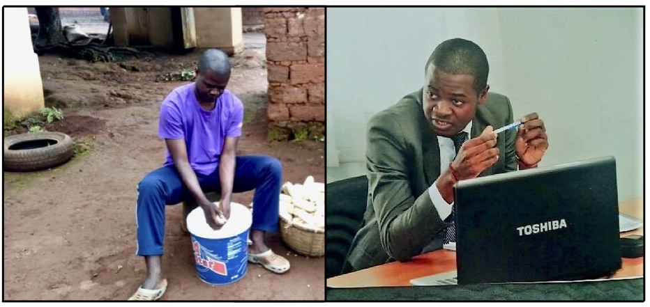 Patrick Mfossa in his village, and at work.