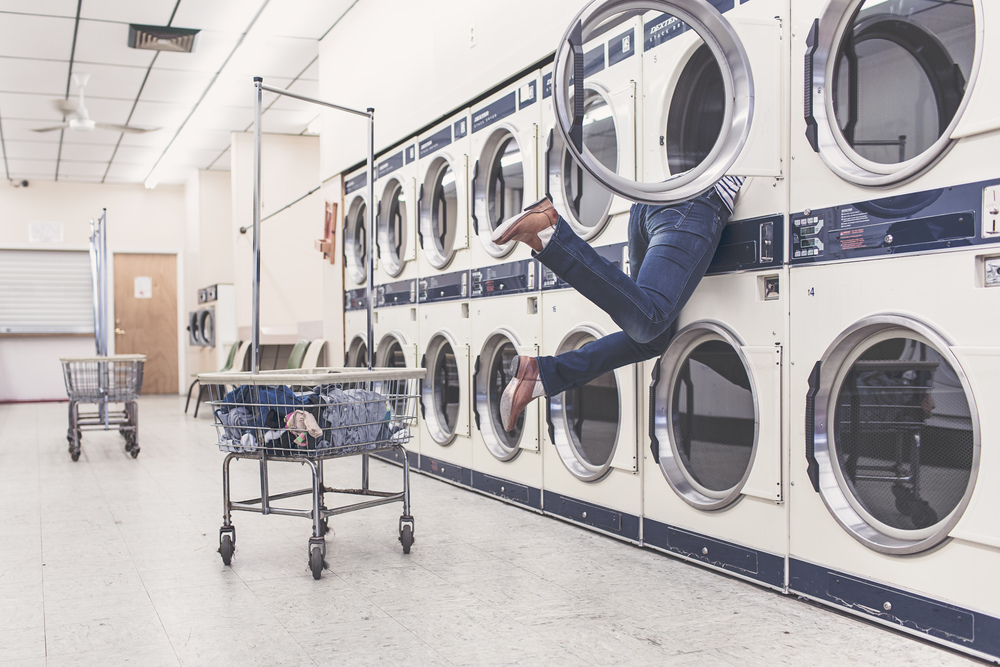 Woman stuck in washing machine