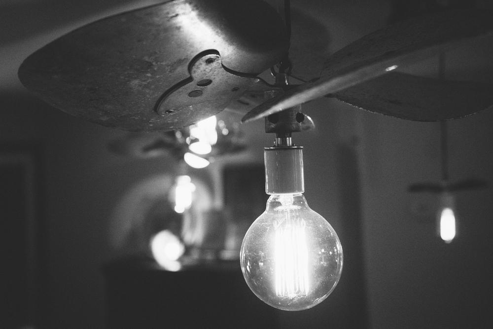 Black and white light bulb