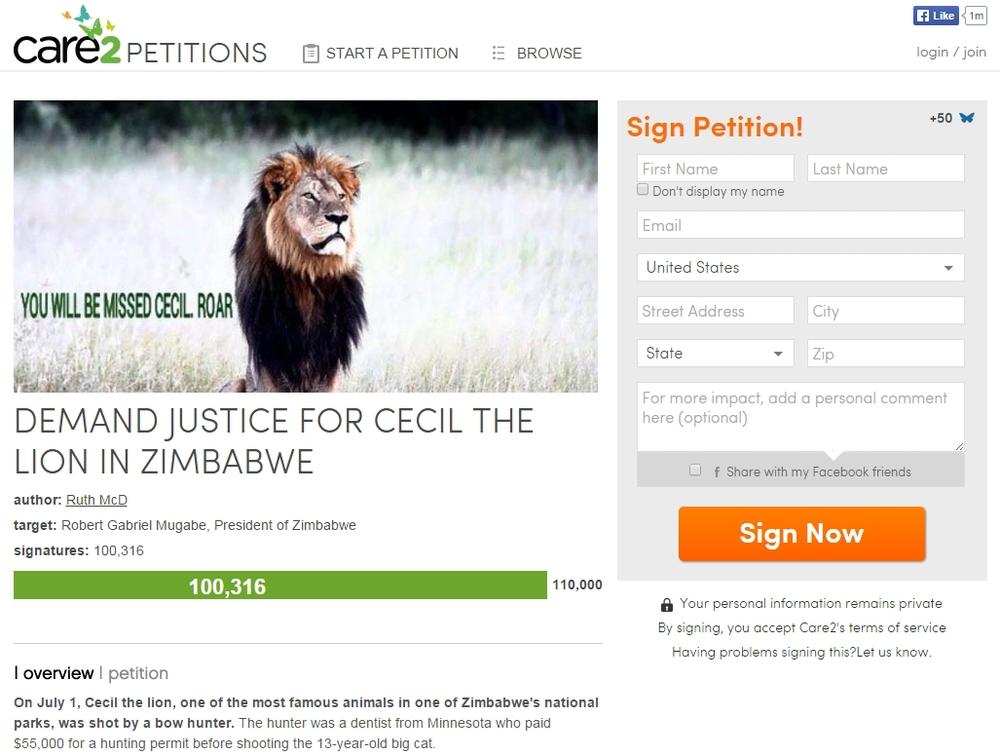 Cecil the lion petition