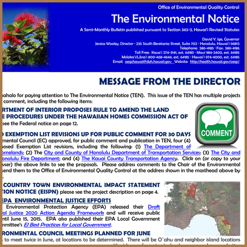 Office of Environmental Quality Control - May 23, 2015 Notice