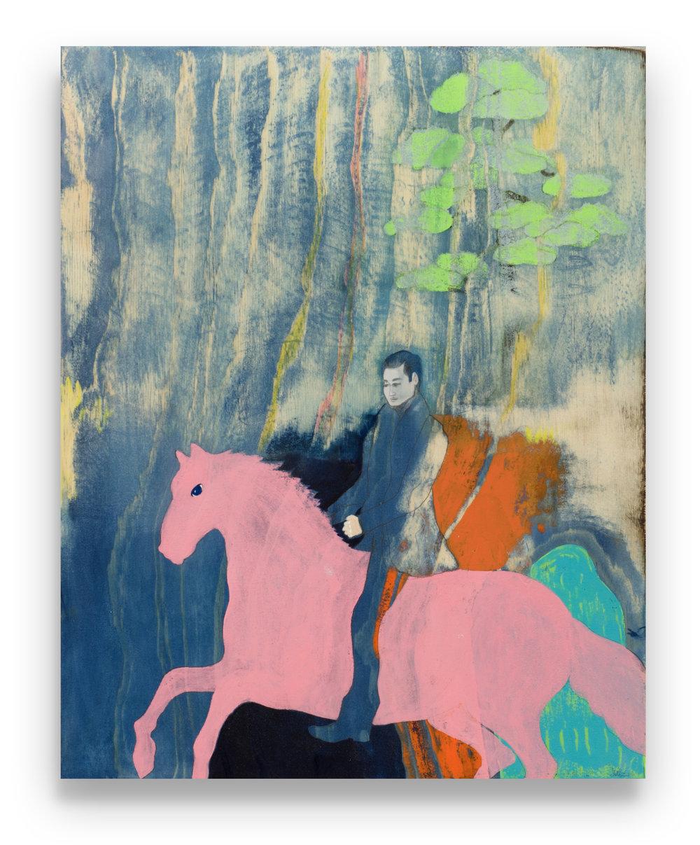 Rider (2017) Acrylic, graphite, pigment ink on board. 50 x 40cm