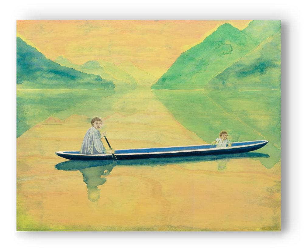 Stillness (2017) Acrylic, graphite, colour pencil on board. 40 x 50cm marc blake painting