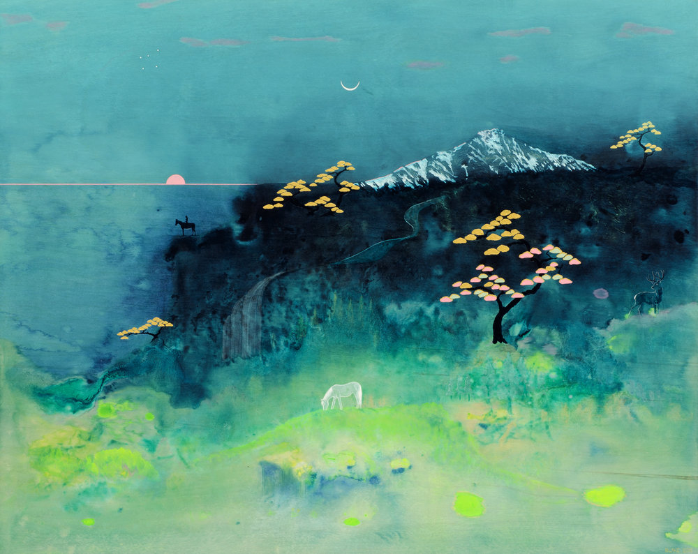 Dawn (2015) Acrylic, colour pencil on board. 80 x 100cm