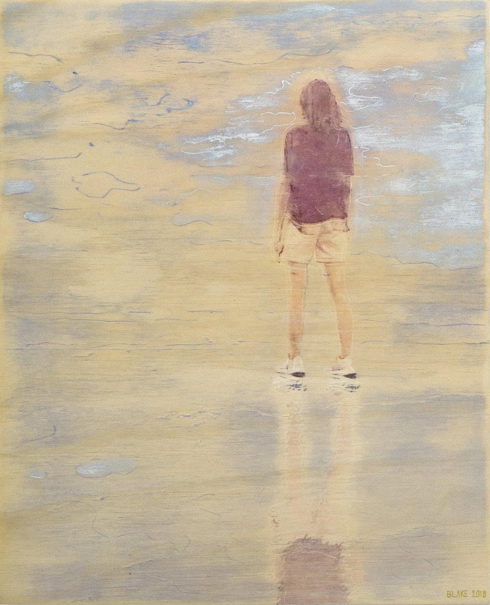 E Beach (5) (2018) Acrylic, ink on board. 50 x 40cm