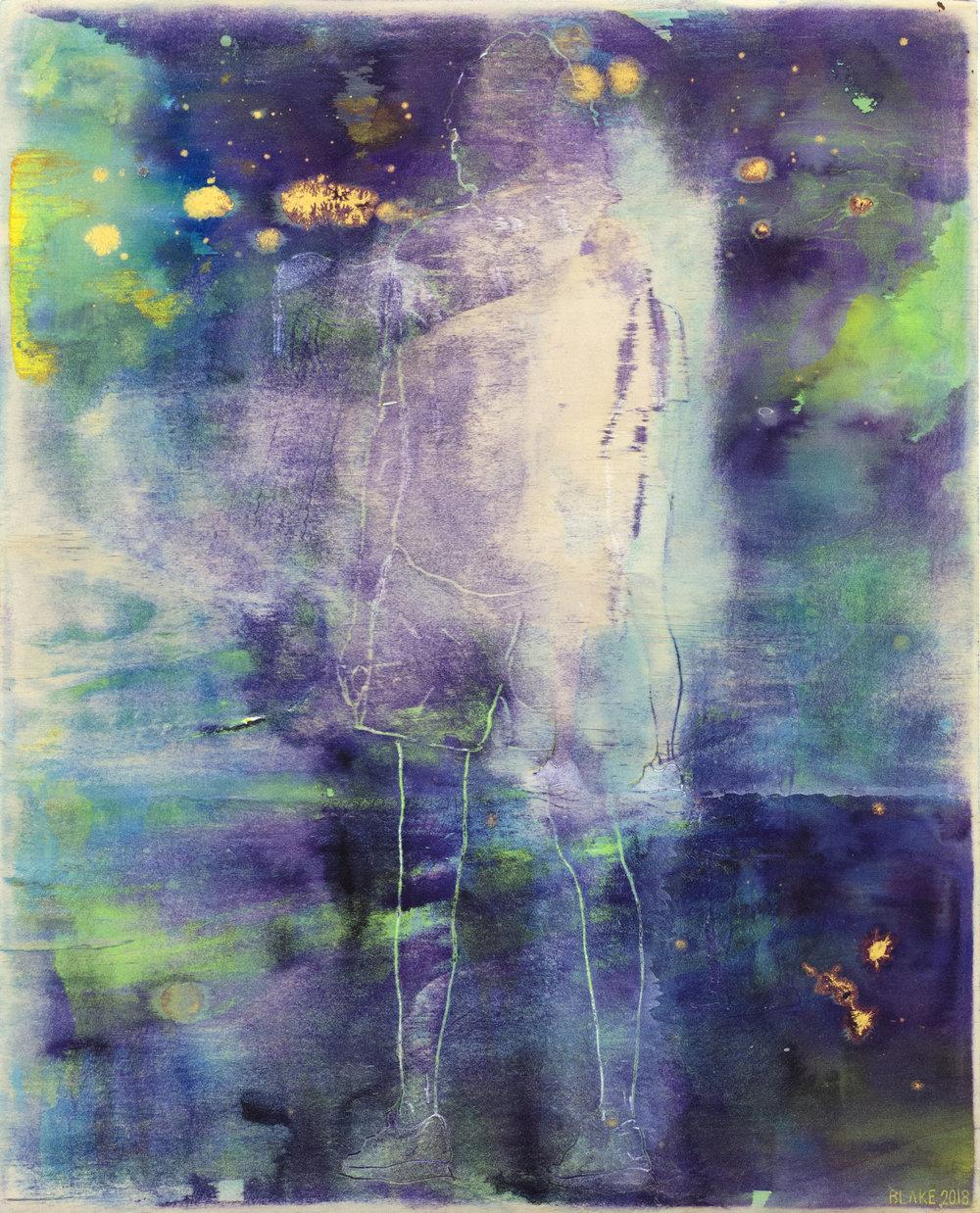 E Beach (4) 92018) Acrylic on board. 50 x 40cm