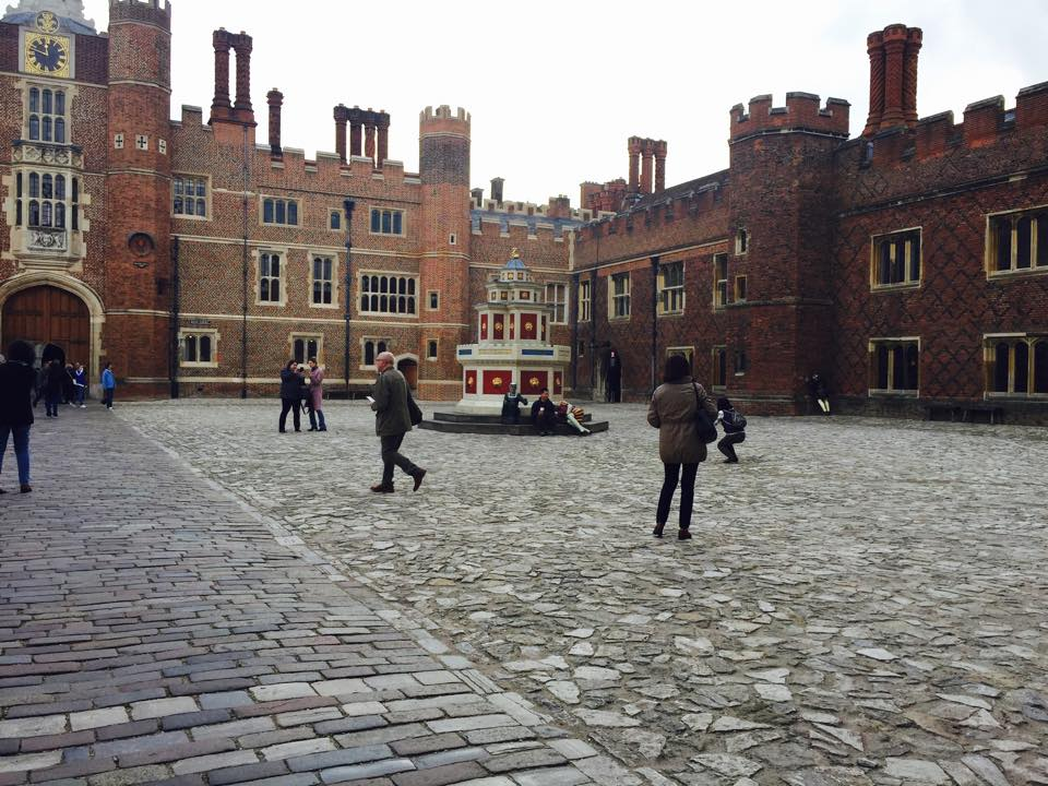 Inside the courtyard of Hampton Palace