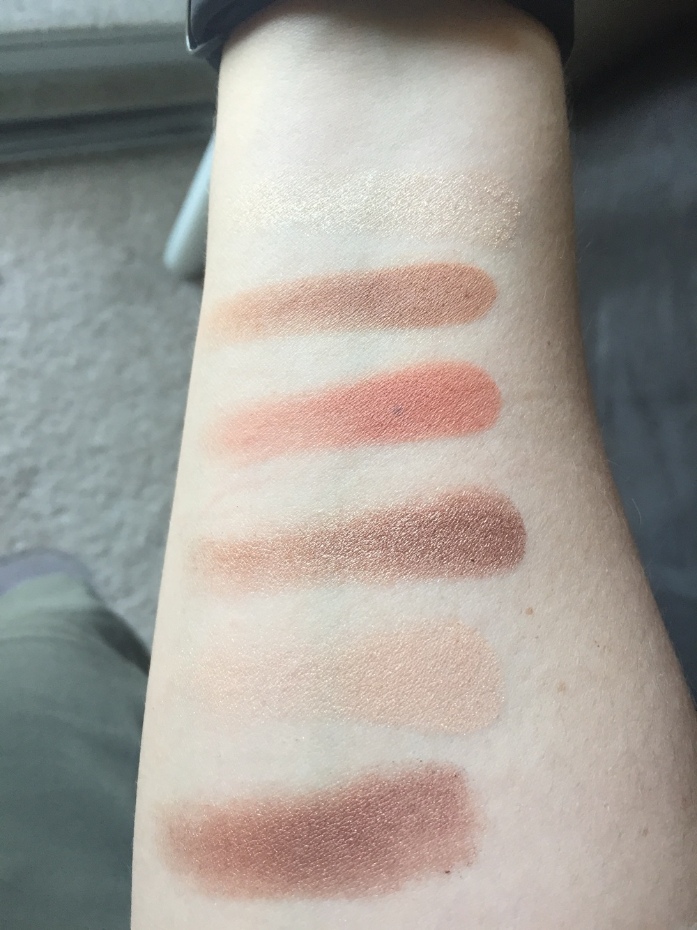 Palette swatched in sunlight