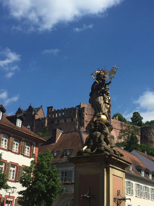 Remains of Heidelberg Castle from down by Markplatz