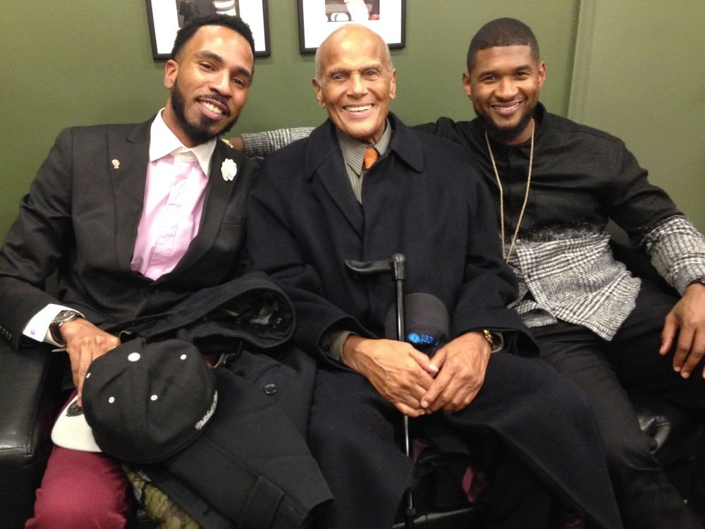 Brandon Bain with Harry Belafonte and Usher