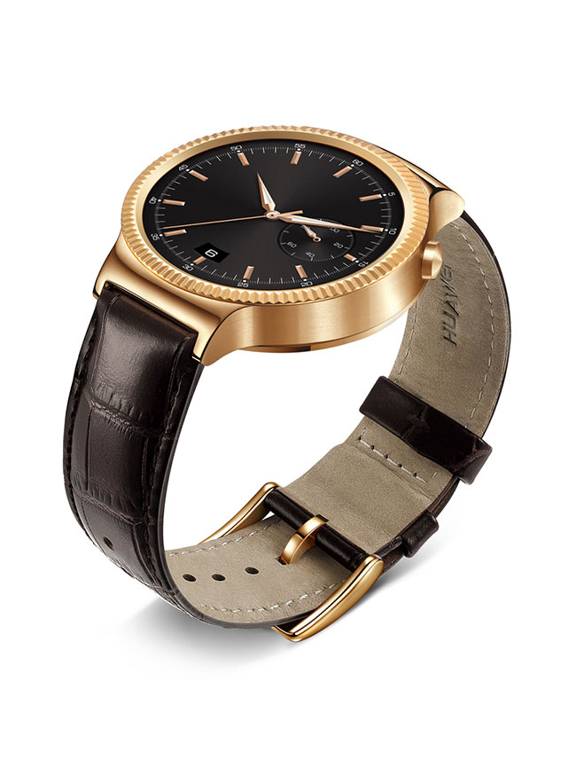 Huawei Watch Rose Gold Plated Stainless Steel with Brown Suture Leather Strap
