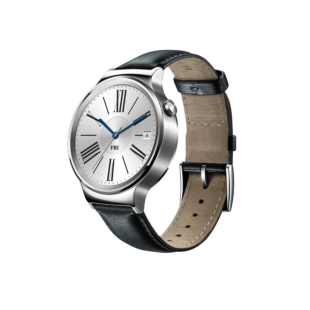 Huawei Watch Stainless Steel with Black Suture Leather Strap