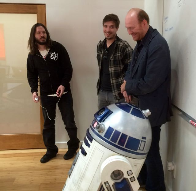 Kevin Cogill (Antiquiet and dotsquirells,) Ryland Bacorn (Yahoo), Raymond Flotat (mxdwn.com) with r2d2 getting prepared for SXSW.