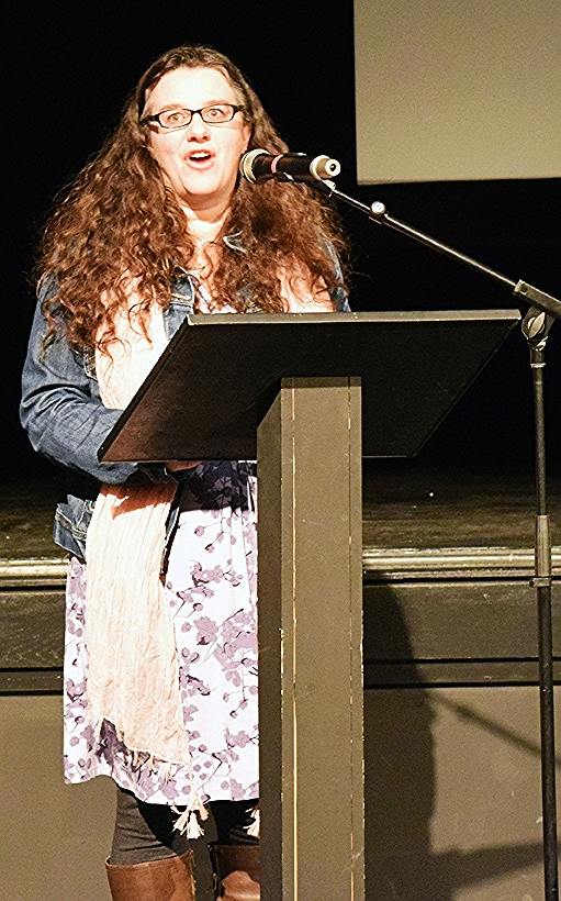 Conference Organizer, Abigail Benjamin introduces the first ever West Virginia Clean Water Conference hosted by WV Wesleyan College and the Buckhannon River Watershed Association in Buckhannon, WV on Jan 19, 2016.