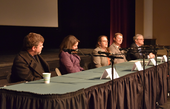 Panelists: Dr. Eric Waggoner, English, Angie Rosser, Executive Director of WV Rivers Coalition, Dr. Kim Bjorgo-Throne, Environmental Science, Tom Landis, City of Buckhannon Water Plant Supervisor, Dr. Rob Rupp, Political Science.