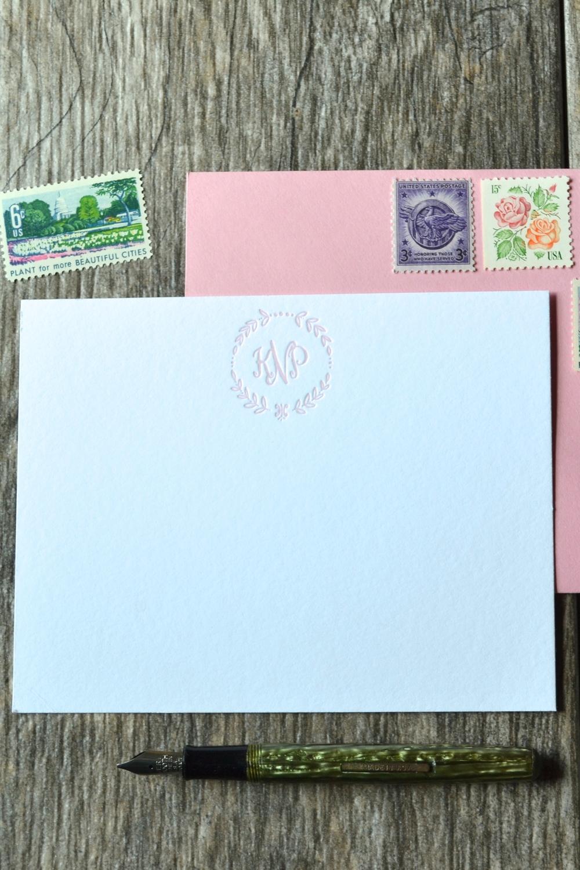 monogram letterpress cards